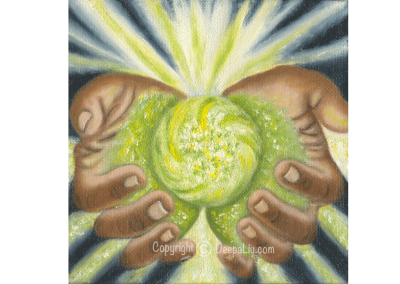 Green Healing Hands of Light